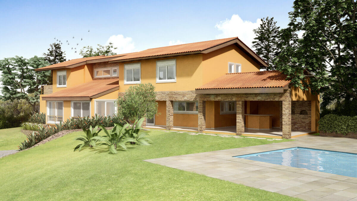 Casa no Condomínio Terras de São José, reformada com pedra madeira filetada. Textura nas fachadas e caixilharia de PVC.