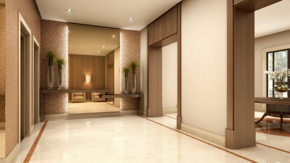 Hall de elevador em condomínio no Panamby. Guarnições com bandeira em Nogueira e espelho bronze com iluminação por trás.